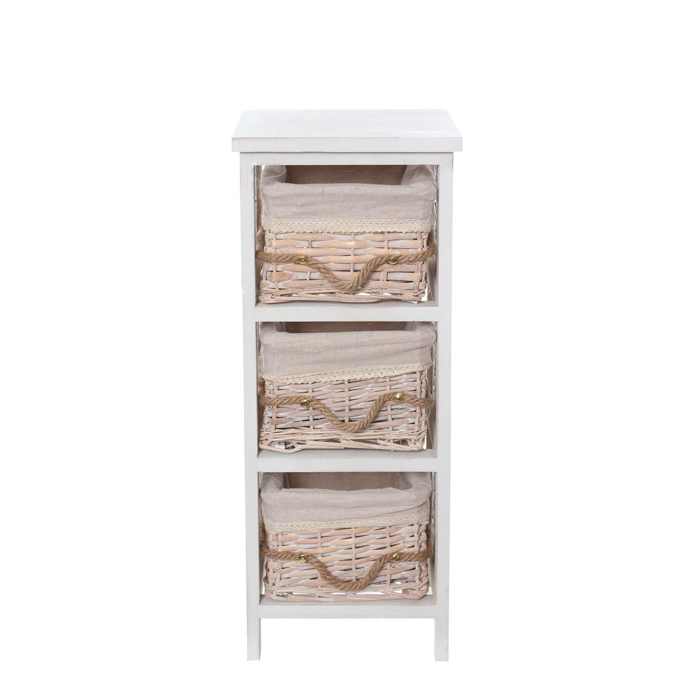 Mobiletto in legno con 3 cassetti e decorazioni KASANOVA