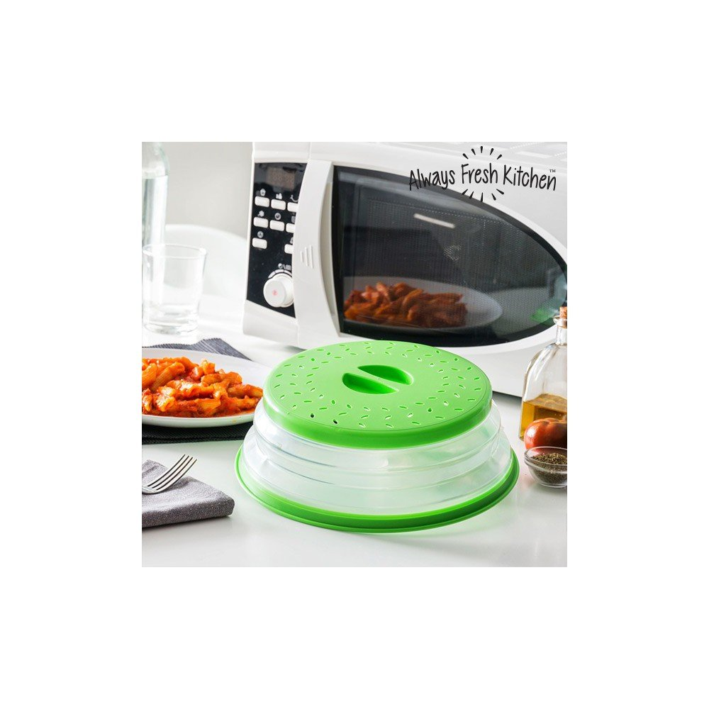 Appetitissime Tap It Tapa Plegable para Microondas, Silicona, Verde, 26.5 x 3/6/8 cm IGS IG112150