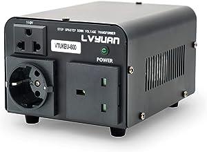 Yinleader Transformador de tensión (800 VA 110 V USA 800 W – In: 110 V o 220 V/salida: 110 V y 220 V (incluye enchufe británico y europeo)