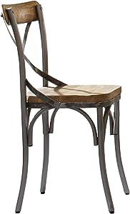 Coaster Home Furnishings Barrett Cross Back (Set of 2) Natural and Gunmetal Side Chair