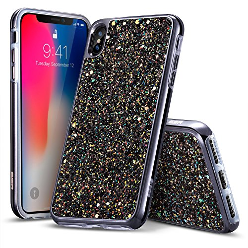 ESR iPhone X Case, Glitter Bling Hard Cover with Dual-Layer Structure [Hard PC Back Exterior + Soft TPU Interior] for Women [Supports Wireless Charging] for the iPhone X (Released in 2017)(Black)