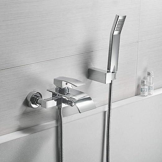 Salle de Bain Chrome Set de Douche avec Douchette /à main et douche effet pluie Carr/é System de Douche Colonne de Douche avec Robinet Mitigeur Douche