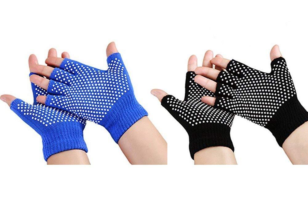 Zaptex Soft Yoga Gloves Non-Slip Fingerless Design Pack of 2