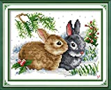 YEESAM ART New Cross Stitch Kits Advanced Patterns for Beginners Kids Adults - Lucky Rabbits 11 CT Stamped 33x24 cm - DIY Needlework Wedding Christmas Gifts