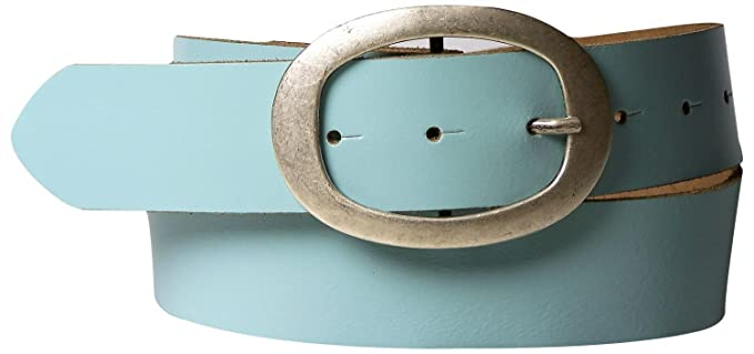 73ffc955cfc560 Fronhofer Gürtel 4 cm Ledergürtel Damen, ovale Gürtelschnalle in silber,  Basicgürtel, Rindsleder Damengürtel