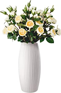 GeLive Ceramic Flower Vase, Floral Flower Arrangement, Decorative Bud Hydroponics Container, Home Decor Table Centerpieces Vase, Ikebana Bouquets Arranging for Home Decor (White Oval Shape)