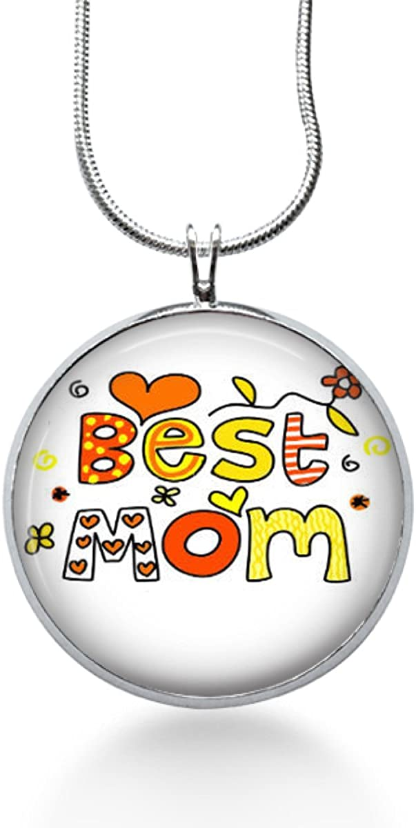 Best Mom Necklace- art Pendant Round Pendant Necklace Handmade Gifts for mothers