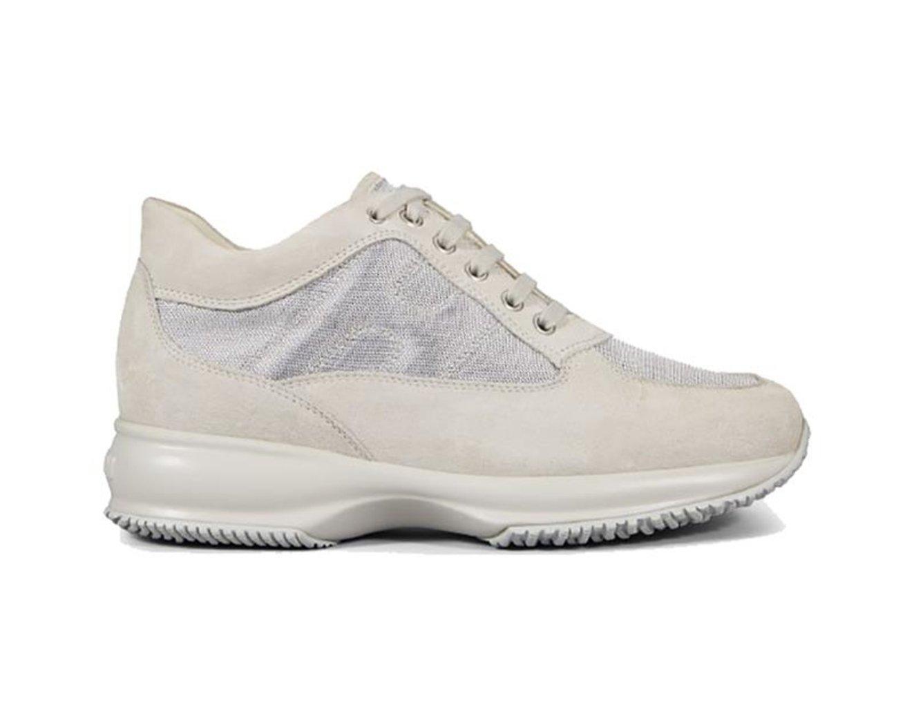 Hogan Zapatillas de Piel Para Mujer 38 EU|plateado