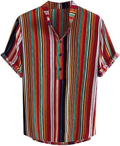 CAOQAO Camisa Hombre Hawaiana Manga Corta Estampado de Rayas de Cuello Alto: Amazon.es: Ropa y accesorios