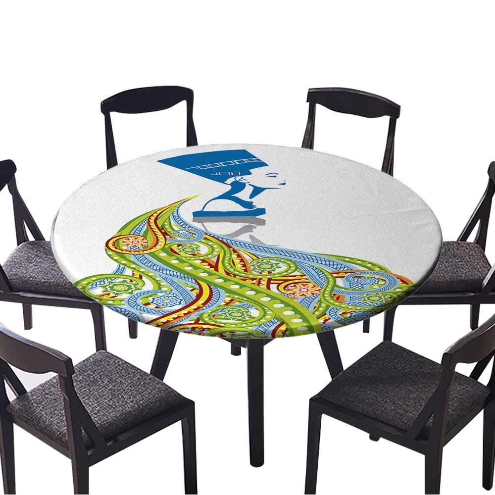 円形フィットテーブルクロス 抽象的な背景 色付き正方形 あらゆる機会に (エラスティックエッジ) 35.5