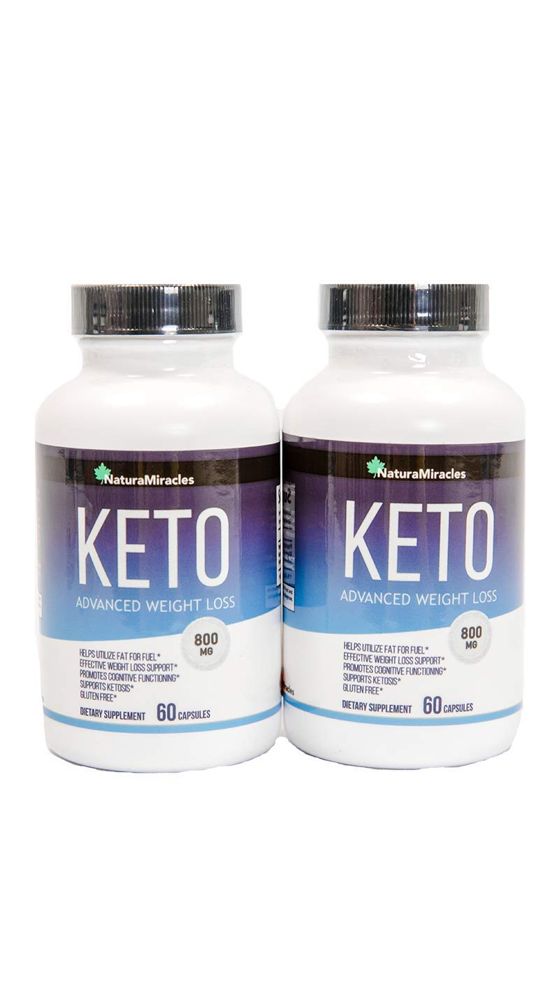 Keto Diet Advanced Fat Burner by Natura Miracles -800MG - Burn Fat Instead of Carbs - Advanced Weight Loss Ketosis Supplement - 120 Capsules - 60 Days Supply (2 Bottles)