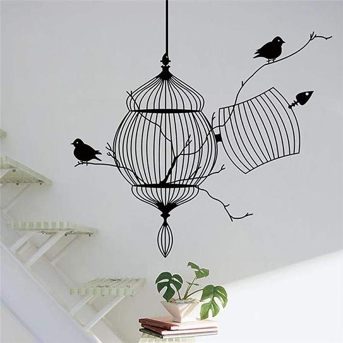 XCSJX Jaula de pájaros de Vinilo Pegatinas de Pared Dormitorio ...