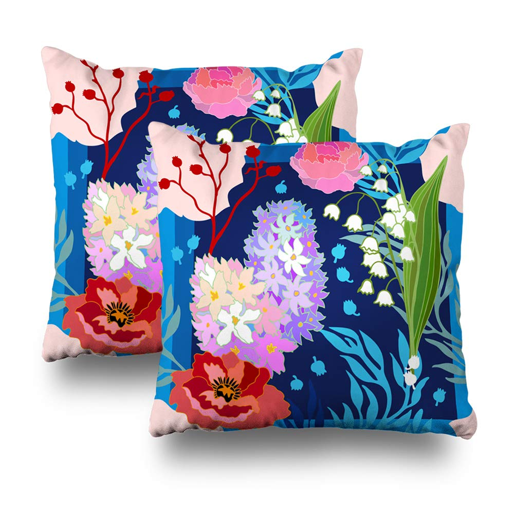 ONELZ Spring Colors Silk Scarf Square Decorative Throw PillowCase Two Sides Printed, Fashion Style Zippered Cushion Pillow Cover (18 x 18 inch,Set of 2)