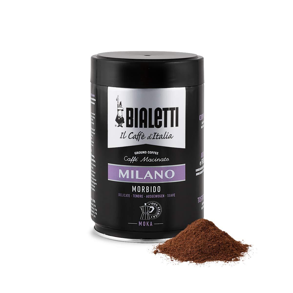 Bialetti Coffee, Moka Ground, Light Roast, Milano, Italy Signature 100% Arabica Blend, Vacuum Sealed 8.8 Ounce Tin Can