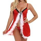 BaZhai de Navidad Vestido de la Ropa Interior Atractiva del cordón del tamaño Extra Grande de la Navidad Mujer Pijamas de tentación Ladies Christmas Sexy Lingerie + Bragas Ropa Interior