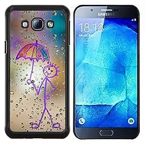 /Skull Market/ - Happy Rain Window Painting For Samsung Galaxy A8 A8000 - Mano cubierta de la caja pintada de encargo de lujo -