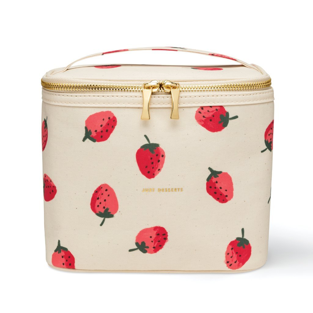 Kate Spade New York Insulated Soft Cooler Lunch Tote with Double Zipper Close and Carrying Handle, Strawberries  by Kate Spade New York
