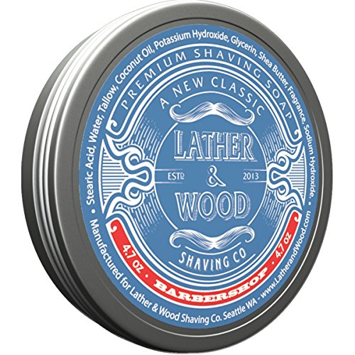 Lather & Wood Shaving Soap - Barbershop - Simply the Best Luxury Shaving Cream - Tallow - Dense Lather with Fantastic Scent for the Worlds Best Wet Shaving Routine. 4.7 oz (Barbershop) ()