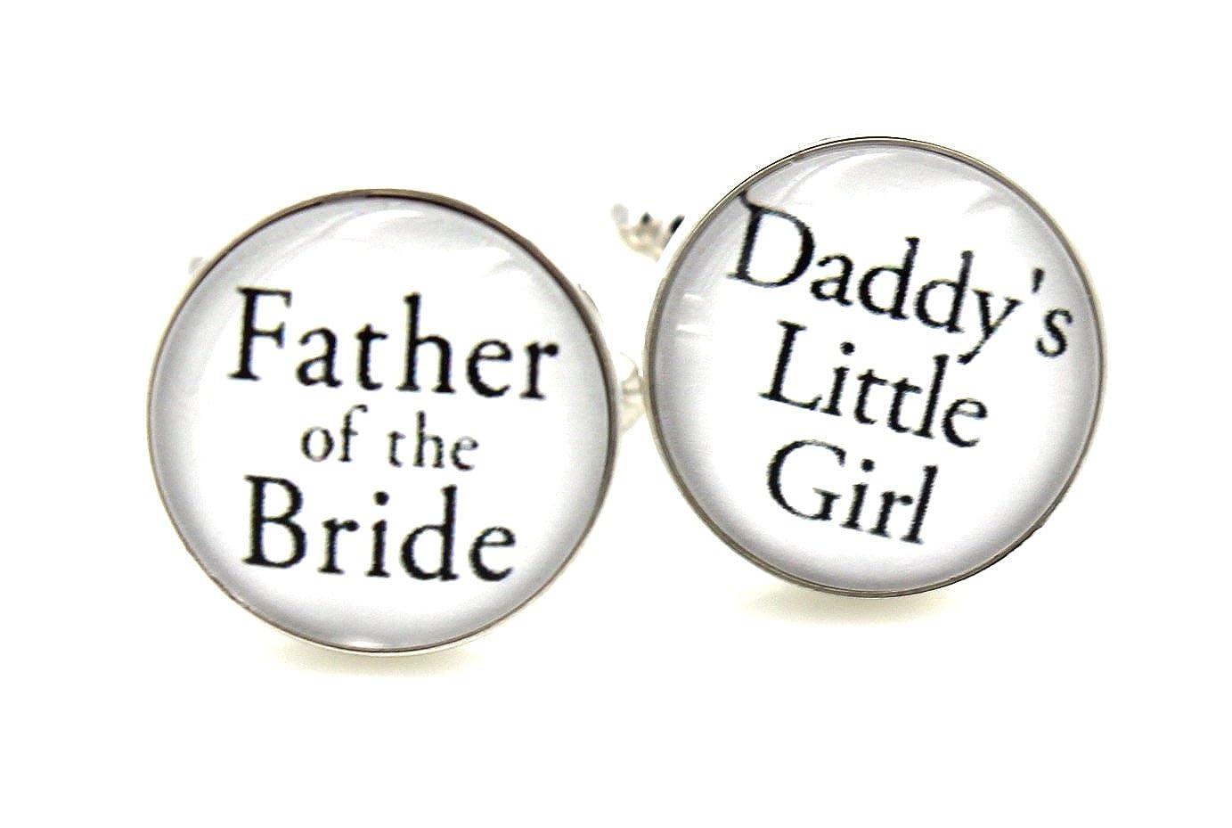 花嫁の父。。。Daddy 's Little Girl – Cuff Links Mens Cufflinksウェディング花嫁の付き添いブラックSilv   B01N756BW5