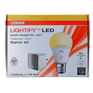OSRAM SYLVANIA Lightify Smart Starter Kit 9.5-Watt (60W Equivalent) 2,700K A19 Medium Base (E-26) Dimmable Soft White LED Bulb with Built-In WiFi (Starter Kit with Bulb) Emergency Lights at amazon