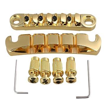 BQLZR 18 mm espacio de cadena oro 4 cuerdas Guitarra Bass Puente Tune-O-
