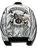 ジャンパー B-R-M 刺繍 スカル 革 メンズ 中綿 MA-1 ストリート エムエーワン 防寒シャケット B2004