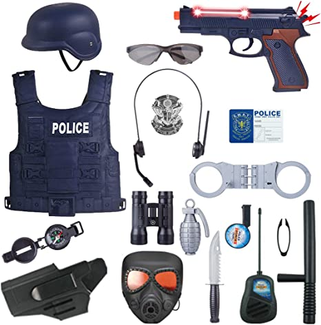 Yavso Policía Juguete - 18Pcs Disfraz de Policía para Niño - Set ...