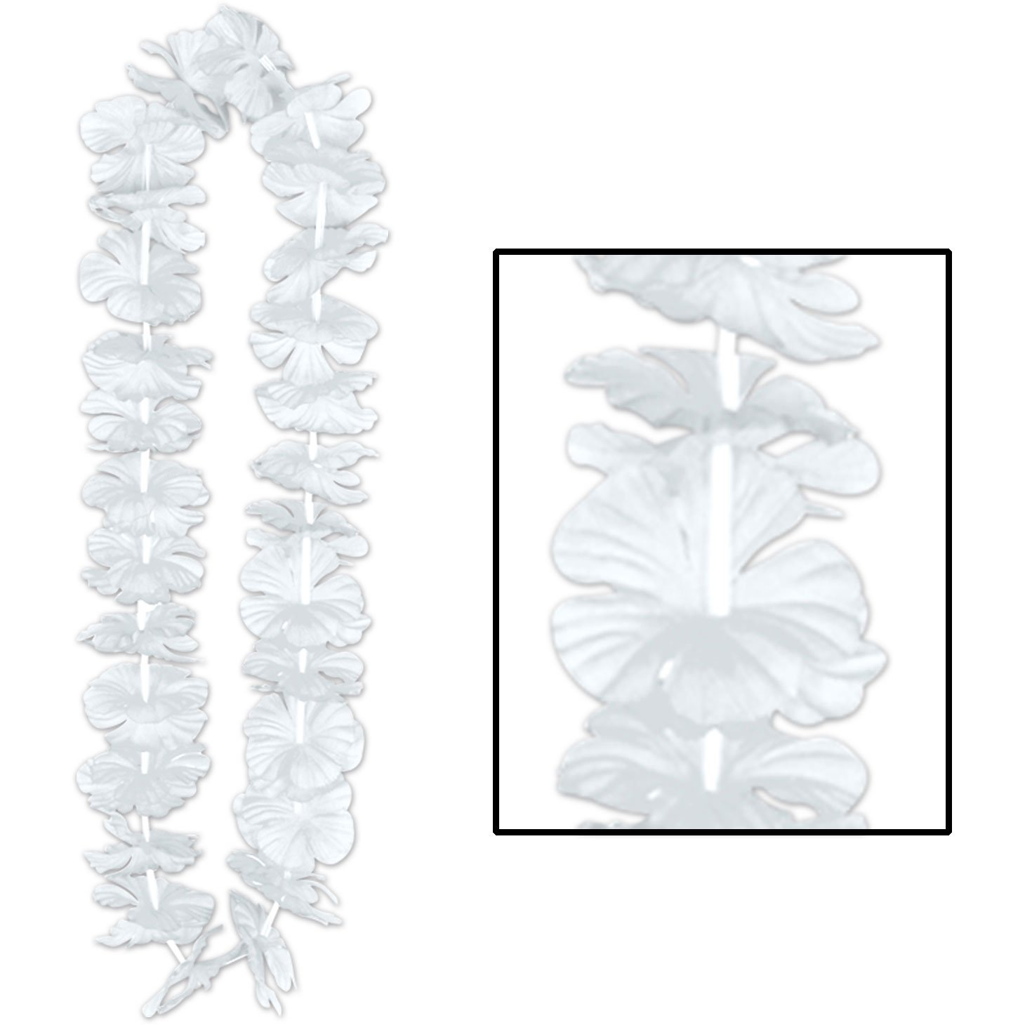 White Silk N Petals Party Lei 36in