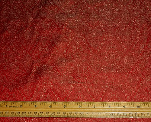 Gold & Red Silk Brocade Jacquard, 100% Silk Fabric, By The Yard, 44