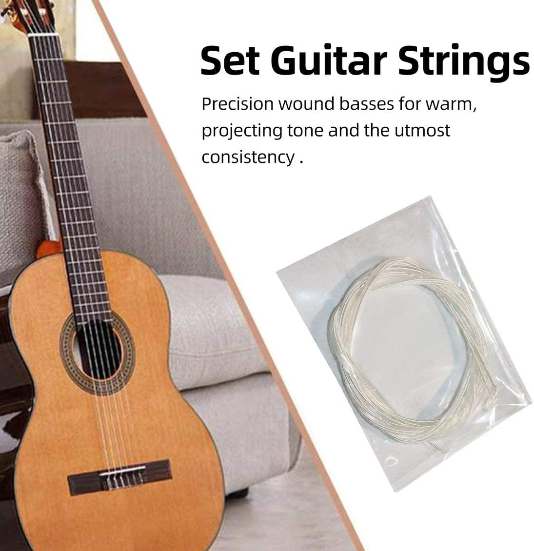 Juego de Cuerdas Plateadas de Nailon Plateado y Transparente Pgige para Guitarra cl/ásica cl/ásica 1M 1-6 EBGDAE Plateado