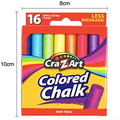 Unifizz Sidewalk Chalk for Kids Toddlers 16 Pieces 7 Assorted Colors Washable Sidewalk Chalk Non Toxic Outdoor Chalk Outside,Gift for Girs and Boys: Office Products