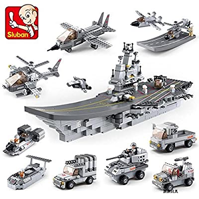 Sluban M38-B0537 army Aircraft Carrier ship 1001 pcs Building Blocks Military Series 9 in 1 boys toy Set educational enlighten toy bricks for children without original box: Toys & Games