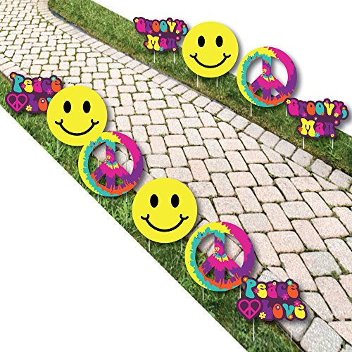 60's Hippie - Peace Sign & Smiley Face Lawn Decorations - Outdoor 1960s Groovy Party Yard Decorations - 10 Piece ()