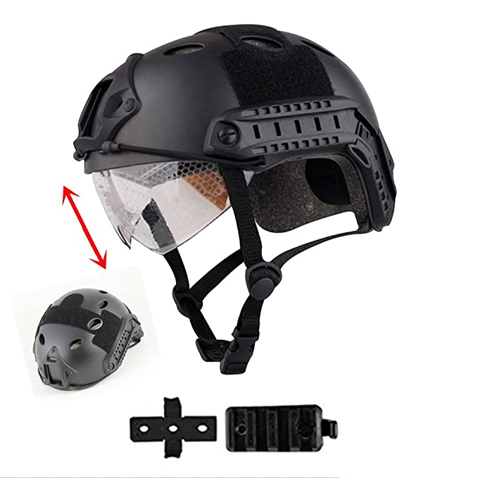 iMeshbean Airsoft Swat Helmet Combat Fast Helmet with Protective Goggles