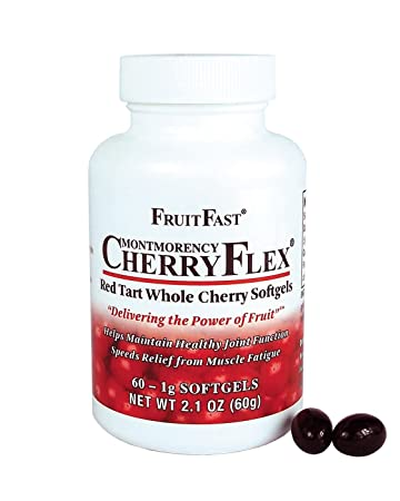 CherryFlex by FruitFast - 100% Red Tart Cherry Concentrate Supplement - 60  Count - Non-GMO and Gluten
