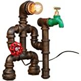 OYL Steampunk Industrial Vintage Rust Iron Water Pipe Desk Table Lamp Light with Red Valve Handle Switch and Green Faucet
