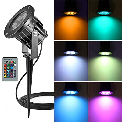 OurLeeme RGB Landscape Lights, Outdoor Spotlight with Stake, Lawn Flood Light 12W, Waterproof LED Flood Lights, Color Changing Spotlight with Remote Control for Garden, Yard 85-265V (1 Pc) : Garden & Outdoor