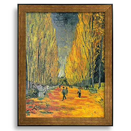 Les Alyscamps by Vincent Van Gogh Framed Art Print Famous Painting Wall Decor Bronze and Black Frame