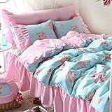 FADFAY Rose Floral Print Bedding Set Pink Ruffle Blue Bed Duvet Cover Sets Teen Girls Bedroom Sets Queen 4PCS