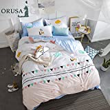 ORoa White Blue 3-Piece 100% Cotton Bedding Set Twin for Girls Teens Adults, Cloud Polka Dot Triangle Duvet Cover and Two Pillow Shams