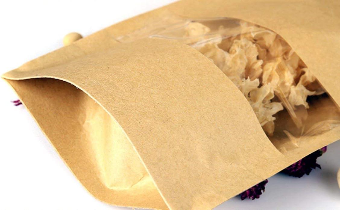 SumDirect 50 STK Kleine Braune Papier Beutel Mit Fenster Papier T/ütchen kraftpapier mit Boden f/ür Verpackung von Kaffee,Tee Lebensmittel und Snack mehr 9x14cm