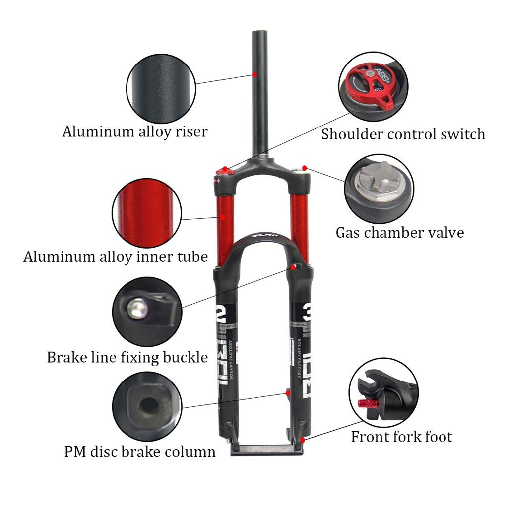 ZNND Suspension Fork 26//27.5 Inch Straight Double Air Chamber Front Bicycle Shoulder Control