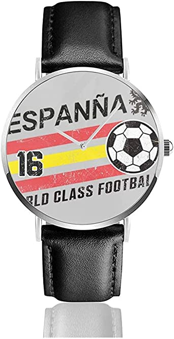 Unisex Business Casual Euro 2016 Fútbol España España Bola Gris Relojes Reloj de Cuero de Cuarzo: Amazon.es: Relojes