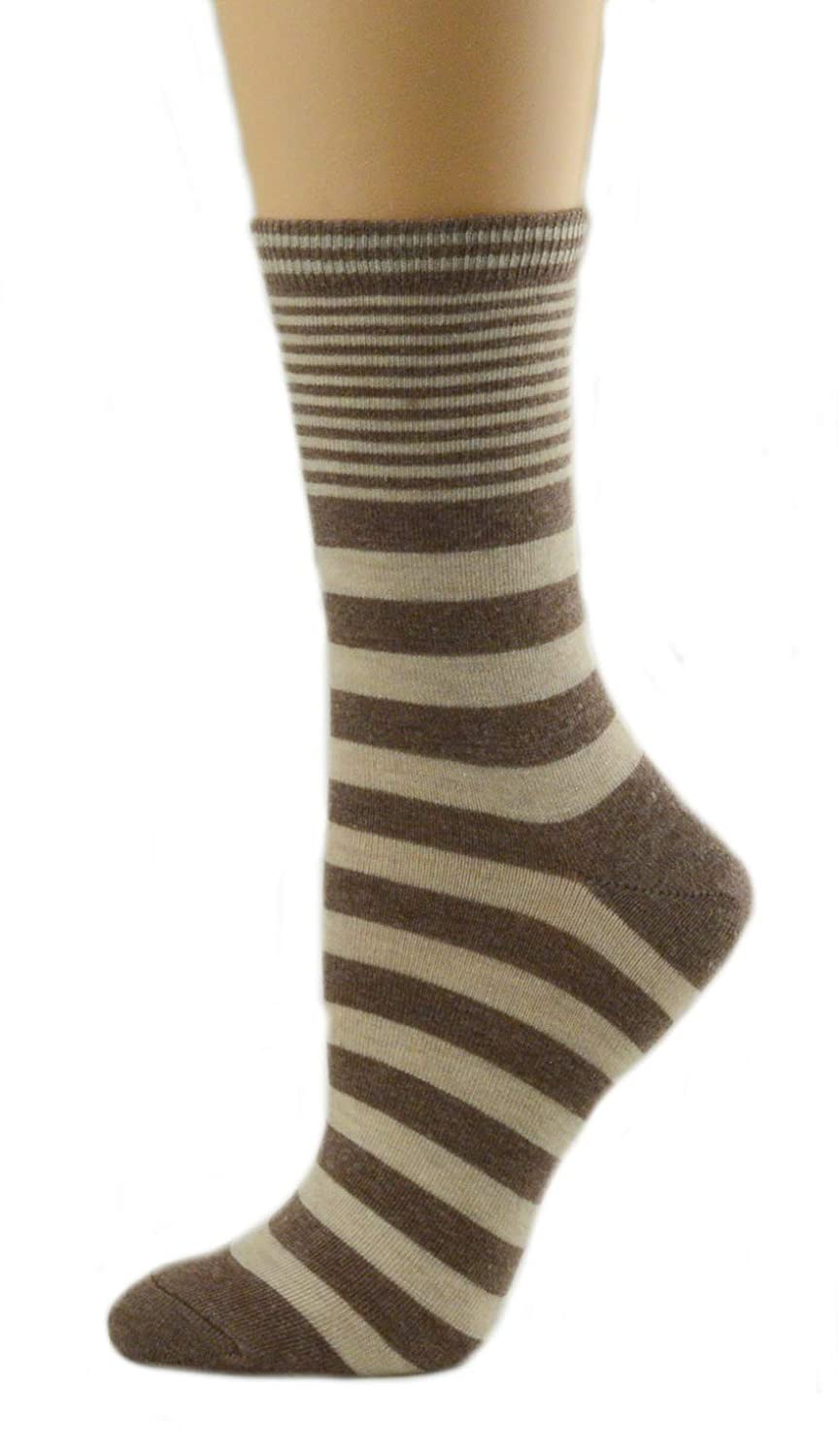 Sierra Socks Women 2-Pair Pack Striped Crew Cotton Socks 2276 (Large (9-11), Brown/Khaki) at Amazon Womens Clothing store: