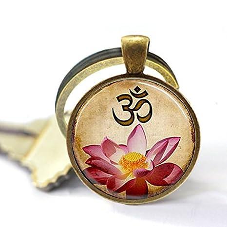 Llavero de yoga, Om, flor de loto rosa, llavero, llavero ...