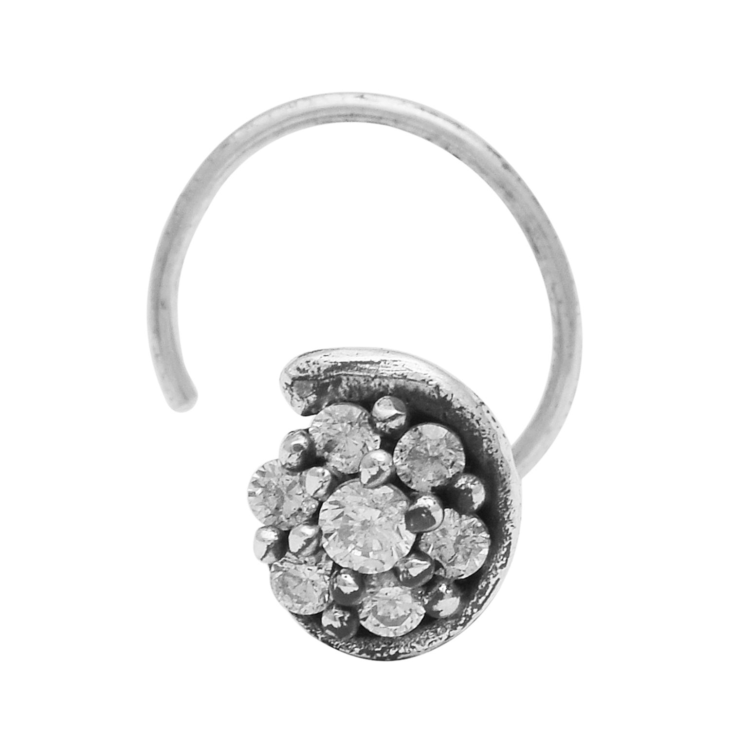 925 Silver Oxidized Cubic Zircon Stone Nose Pin Women//Ladies