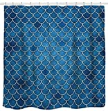 Blue Fish Shower Curtain Sunlit Designer Fish Scale Mermaid Tail Geometric Shower Curtain Set. PVC Free, Non-Toxic and Odorless Water Repellent Fabric. Ocean Theme Fairy Tale Bathroom Décor. Blue