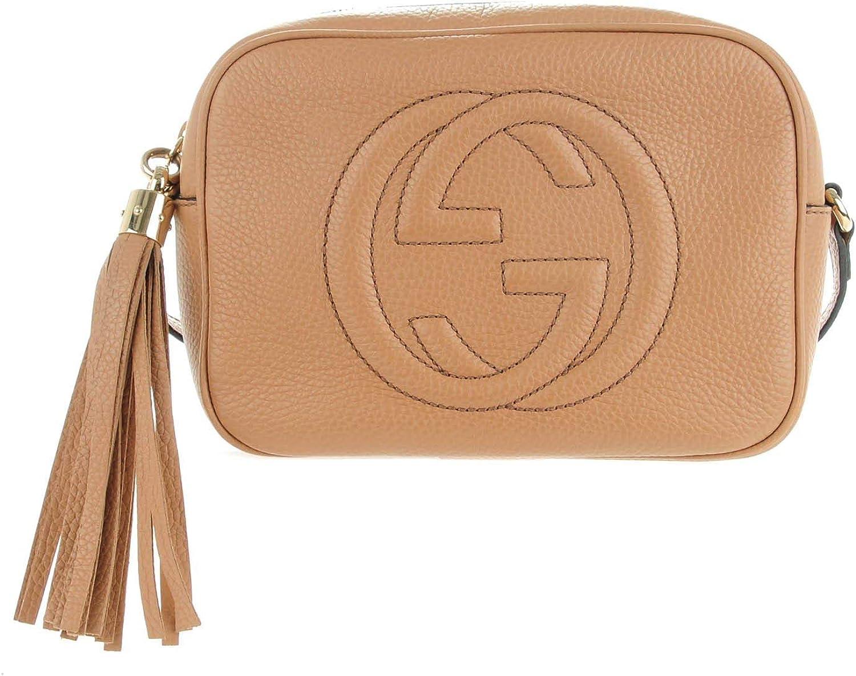 GUCCI Soho Disco Camelia Beige Rose Pink Light brown Leather Crossbody Bag New