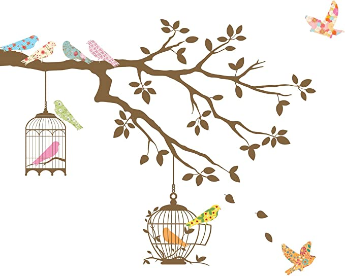 z3623 Wall Decal Birds Cage Tree Branch Nature Vinyl Sticker