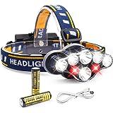 Giravic Lámpara Frontal LED, Súper Brillante Recargable Linterna Frontal de 8 LED 13000LM, Impermeable 8 Modos Cambiar…